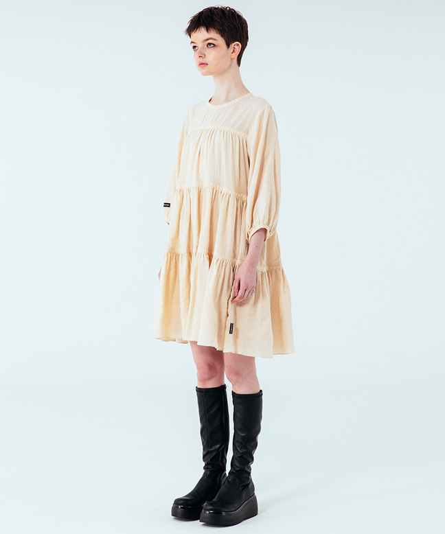 LACE POINT FLARE DRESS [IVORY]