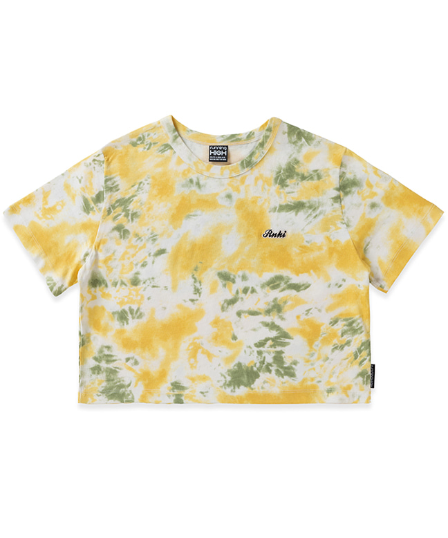 DYED ANGEL PRINTING CROP TEE [YELLOW]